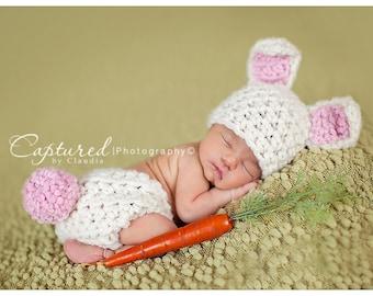 Cream Bunny Hat Diaper Cover Newborn Baby