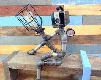 Robot Lamp, Pipe Lamp, Industrial Decor, Steampunk Lighting, Pipe Decor, Man Cave, Junk Style, clever RAVEN, Pipe Lighting, Industrial Lamp