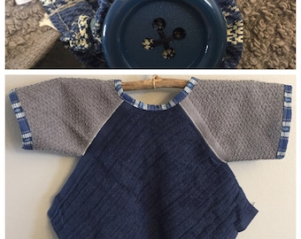 BL006 - FREE SHIPPING - Baby Bib with Sleeves, Toddler Bib with Sleeves, Button Clasp, Boy, Birthday, Navy Blue, Gray