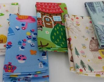 Kids Cloth Napkin Set of 5 // Fairy Tale // Lunchbox Napkins // Kids Handkerchief // Party Favor // Stocking Stuffer // Gift for Kids
