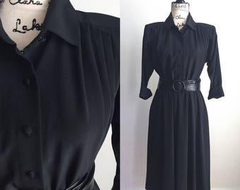 Vintage Black Midi Dress, Black Midi Dress, Vintage Career Dress, 80s Black Dress