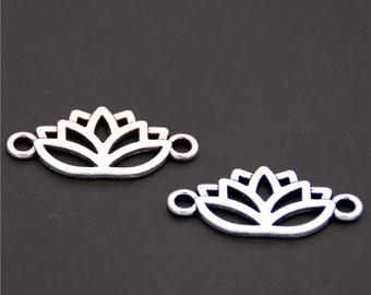 30pcs Antique Silver Lotus Flower Charms Pendant A1376
