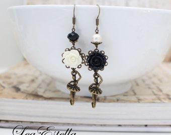 Black and White earrings Asymmetrical Earrings Monochrome earrings Ballerina Earrings Ballet earrings Dancing earrings - Black Swan