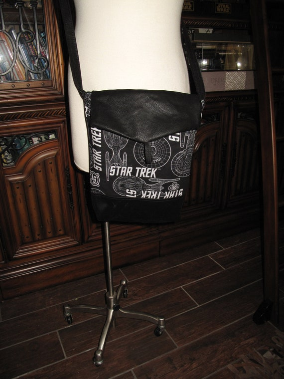 Star Trek Enterprise print unisex shoulder bag or crossbody bag size 14x11x3 or 18x13x3