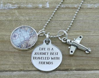 Small World map with plane and Life is a journey charms on a Silver Necklace - Travel Necklace - Travel Jewelry - Australian Seller