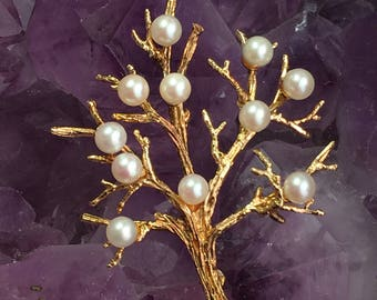 Vintage Gold Plated Sterling Silver Pearl Tree Of Life Brooch Pin - Vintage Tree Brooch Pin