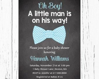 Little Man Baby Shower Invitation Boy, Blue Bow Tie Baby Boy Shower Invitation, Chalkboard Digital JPEG PDF Printable
