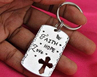 Faith Hope Love hand stamped scripture keychain