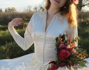 DAWN 1940's Antique Wedding Gown Bridal Attire Satin and Lace Dress  with Train