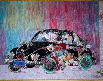 MarveLes PAPER PATTERN for Collage Style Floral Lady Love Bug VW volkswagon pastel