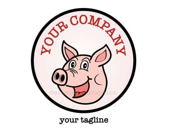 Premade Logo Design, Pig Logo, Cartoon Pig Logo, Happy Pig Logo, Semi-Custom Logo, Custom Logo, Small Business Logo