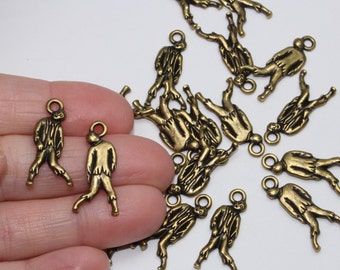 Brass Zombie Charms, 2+ TierraCast Oxidized & Plated Pewter, Monster Ghouls, Lead Free Pewter, Halloween Dead Walking Charms