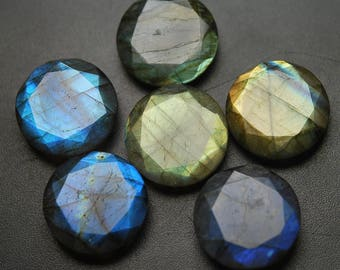 1 Matched Pair,Finest Quality,Undrillrd,Labradorite Faceted Coins Shape,20mm Size