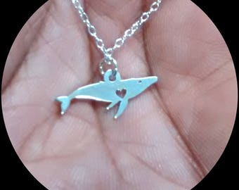 Whale Necklace - Engrave Pendant - Sterling Silver Jewelry - Gold Jewelry - Rose Gold Jewelry - Personalized Pet Jewelry - Animal Charm