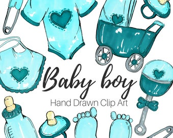 Baby Shower Clip Art - Baby Clip Art - Baby boy Clip Art - Hand Drawn - Nursery clip art - Commercial Use