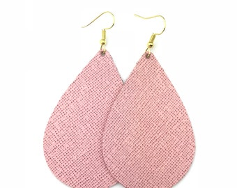 Pink Leather Earrings, Genuine Leather, Leather Teardrop, Trendy Earrings, Lightweight Earrings