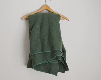 vintage 70s olive army green wool camping blanket - military style