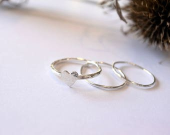 Sterling Silver Set of 3 Heart Stacking Rings
