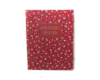 vintage family history book fabric floral cover records ancestry