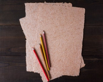 Handmade onion paper Hemp fiber paper Textured sheets Thick paper Deckle edge paper Light red sheets Eco wedding invitations A4 paper (#24)