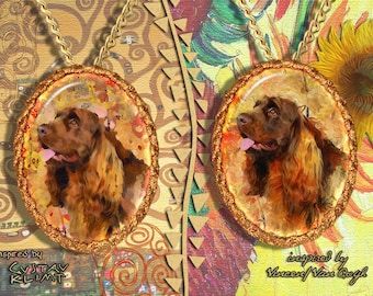 Sussex Spaniel Jewelry Pendant - Brooch Handcrafted Porcelain by Nobility Dogs - Gustav Klimt and Van Gogh