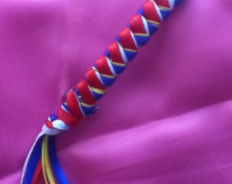 Braided Ribbon Barrette / ACADIAN Red, Blue, White and Yellow