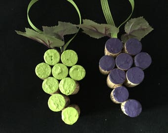 Recycled Wine Cork Grape Cluster (Purple and Green) Ornament