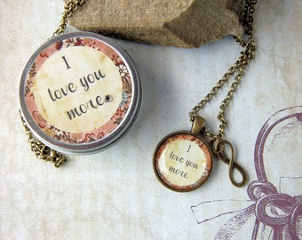 I Love You More Necklace, Quote Pendant Necklace in Gift Tin, Affirmation Pendant for Moms Best Friends SistersTeens