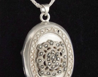"""1920-40s """"MBS"""" Antique Sterling Silver & Marcasites Locket / Pendant w/ SS Chain"""