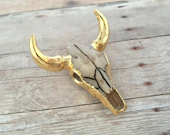 24K Gold Longhorn Skull Pendant Gold Dipped Cattle Bull Skull Pendant Tombstone Charm Vintage Western Pendant With Loop Attachment 131