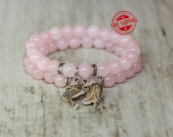 mother daughter matching family bracelet gift gift for mother bracelet gift from daughter gift pink bracelet natural stone jewelry for mom