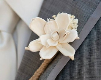 Ivory Boutonniere- Made to Order Groom, Groomsmen, Sola Flower, Wedding, Wedding Flowers, Shabby Chic Wedding, Rustic Wedding