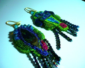 Earrings artistic paradisia green and blue with Peacock feather