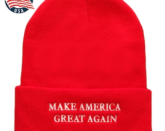 Made in USA, Donald Trump Make America Great Again Embroidered Cuff Folded Beanie