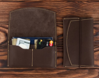 Dark Brown Leather Passport Holder – Multiple Passport Travel Organizer - Wallet Cover Case