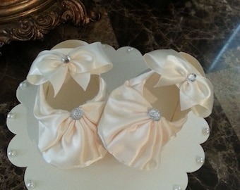 Cream Satin Baby Girl Shoe Cake Topper / Shoe Cake Topper