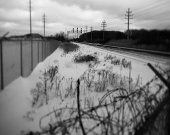 Stay On Track- Urban art, train tracks, black and white photograph available in 5x7 and 8x10. Home, office decor.