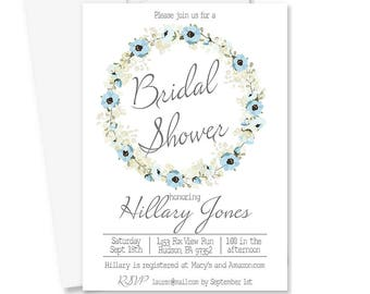 Printable Bridal Shower Invitation | Digital Bridal Shower Invite | Blue Floral Bridal Shower | Rustic Bridal Shower | Brinsley Collection