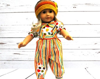 "18"" Doll Hat, AG Crochet Hat, Fall Hat, Autumn Hat, American Girl Doll, Doll Hat, AG Matching Hat, Autumn Stripes Hat, Autumn Beanie"