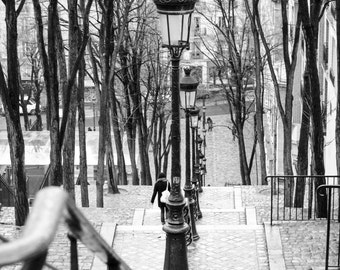 Black and White Photography, Taking the stairs in Montmartre, Paris Photography, Montmartre Art, Fine Art Photograph