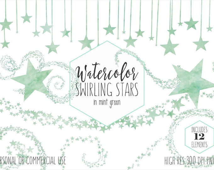 MINT STAR CLIPART Commercial Use Clip Art Green Watercolor Swirling Stars Swirls Trails Celestial Sky Confetti Party Baby Shower Graphics