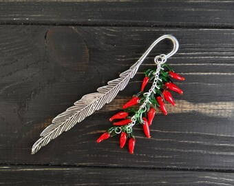 Unique bookmark red chili peppers chef gifts cook gift teacher bookmark vegetarian housewarming gift cook book gift gardener gift housewife