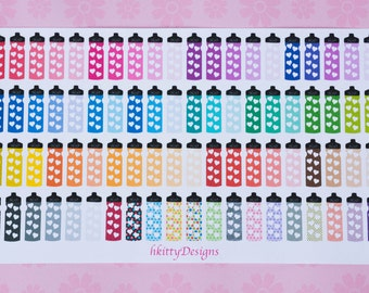 Hydration Stickers for your ECLP, Filofax, Happy Planner or Plum Paper Planner - 80 Stickers (Rainbow)