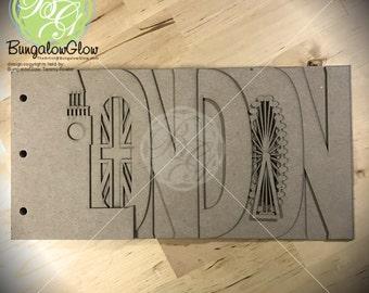 LONDON Scrapbook chipboard album BLANK for memories, gift, photo album, keepsake album, vacation album 7pg