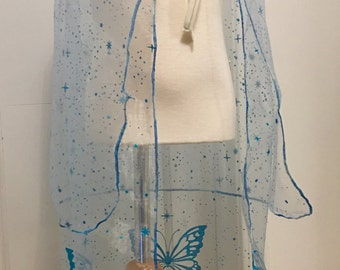 """Organza play double layered cape for dress up  32"""" long, three bias colors"""