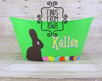 Personalized Custom Easter Bucket with chocolate bunny and jellybean design