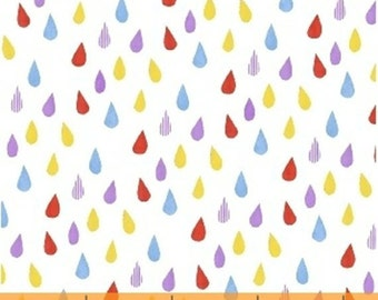 Half Yard Color and Count - Raindrops in White - Rain Drops Cotton Quilt Fabric - Jill McDonald for Windham Fabrics - 40675-5 (W3638)