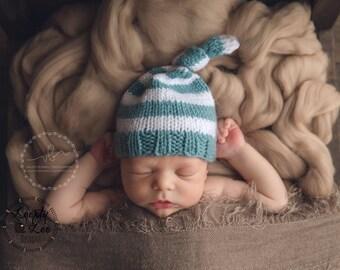 Newborn Knit, Top Knot Hat, Newborn Photo Prop, Newborn Hat, Baby Boy, Baby Girl Hat, Newborn Boy Hat - SIZE NEWBORN - more color options