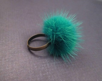 Mink Fur Ring, Teal Green Fur, Adjustable Size Brass Ring, FREE Shipping U.S.