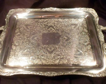 """Wm Rogers Large Silver Plate Footed and Handled Tray, 23"""" Length"""